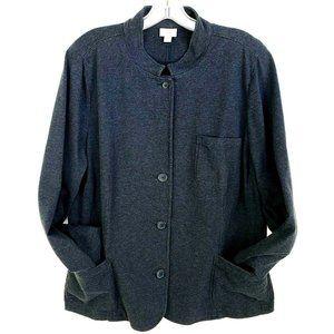 J. Jill  100% Cotton Knit Jacket Top Blue Pockets